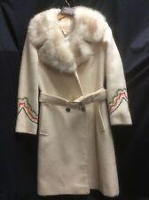 Vintage Hudson Bay Co. Rare Embroidered Women's Wool Coat Fur Trim size Medium