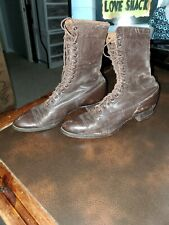 """ANTIQUE Victorian Boots Ladies   Lace-Up Brown Leather BOOT 9"""" long"""