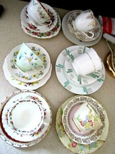 LOVELY,VINTAGE MIX & MATCH CUPS,SAUCERS,PLATES X 6,TRIOS 18 PIECE