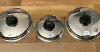 """Vintage LUSTRE CRAFT Stainless Steel($$ for ea.)2x 8-1/2""""& 6 3/4"""".  A, B, C Lids"""