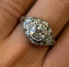 Vintage Art Deco Engagement Ring 1.96Ct Diamond Wedding Ring 14k White Gold Over