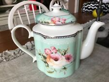 ELEGANT NEW MINT GREEN W ROSES SCRIPT AND LACEY OVERLAY TRIM NEW