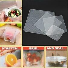 4Pcs Reusable Silicone Fresh Food Storage Wrap Seal Cover Stretch Cling Film FW