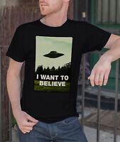 I Want To Believe Men Black T-shirt X Files Tee UFO Alien Shirt