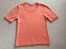 Jaeger Apricot Short Sleeve Cashmere/Cotton Jumper (S)