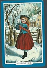 Swap Playing Vintage Card  Shall I ? Girl in the snow