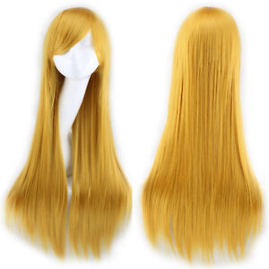 New 80cm Long Straight Wigs Halloween Cosplay Costume Anime Hair Party Full Wigs