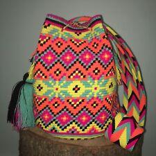 Authentic 100% Wayuu Mochila Colombian Bag Large Size Gorgeous Bright Color New