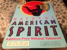 """American Spirits Cigarettes Metal Embossed Tobacco Sign Good Used Shape 19"""" x12"""""""