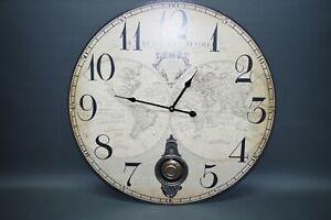 Große Wanduhr 59 cm Nostalgie Uhr Antikstil  alte Weltkarte Globus mit Pendel
