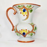 Vintage Czechoslovakian Art Pottery Hand Painted Ceramic Pitcher 1 Liter