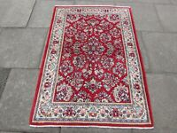 Fine Vintage  Hand Made Traditional Oriental Wool Red Small Rug 159x110cm