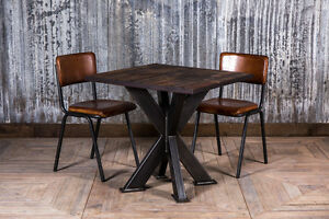 INDUSTRIAL STYLE CAFE RESTAURANT TABLE ELM TOP TABLE WITH DOUBLE X FRAME BASE