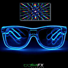 Blue LED Diffraction Glasses Light up EL Wire wrapped 3 mode flashing strobing