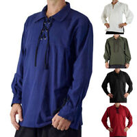 2019 Men's Medieval Pirate T-Shirt Loose Solid Lace up Halloween Tops Plus Size