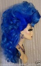 Drag Queen Wig Big Long Dark Blue Light Blue Tips Pulled Up Sides Curls