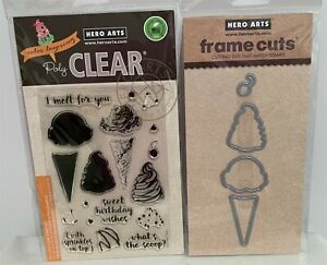Hero Arts Color Layering ICE CREAM Cone Frame Cuts Rubber Stamps Dies Lot