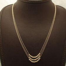 "18"" 3 Strand Layered Diamond Cut Ball Chain Necklace Real 14K Yellow Gold QVC"