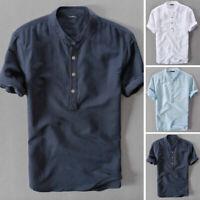 Mode Hommes Chemises unis en lin à manches courtes fête décontractées Standard
