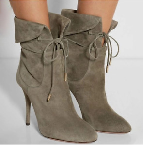 Womens Stiletto High Heel Ankle Suede Boots Lady Lace Up Pointed Toe Shoes Party