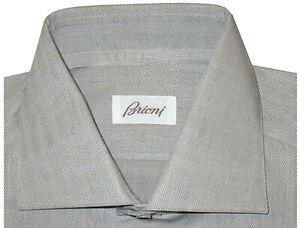 $695 NWT BRIONI GRAY & WHITE HERRINGBONE DIAMOND ACCENTS DRESS SHIRT 43 17