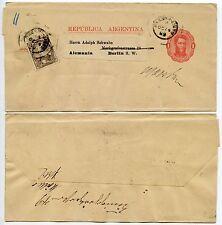 ARGENTINA NEWSPAPER WRAPPER UPRATED 1889 1c + 1c