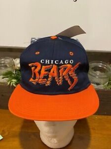 Vintage 90's Team NFL Chicago Bears Spell Out Embroidered Snapback Hat Cap NEW