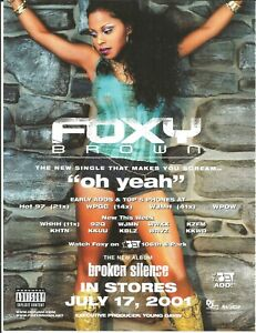 FOXY BROWN Yeah & DARWIN'S WAITING ROOM feel PROMO TRADE AD Poster for 2001 CD