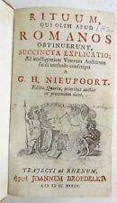 1734 RITUUM ROMANOS by G.H.NIEUPOORT antique ROMAN ANTIQUITY