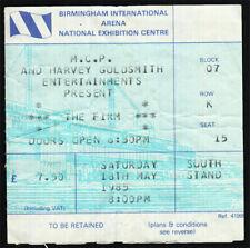 The Firm *Rare* 1985 Birmingham Uk Concert Ticket Vtg Jimmy Page led zeppelin