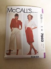 Vintage Patterns McCall's Misses Blouse, Culottes, Pants Size 16 Factory Folded