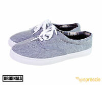 Grey Men's Canvas Shoes Lace Up Casual Sneakers Kicks Originals Lowtop Footwear