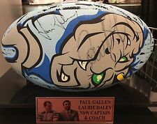 NSW ORIGIN BALL SIGNED BY COACH AND CAPTAIN IN DISPLAY CASE