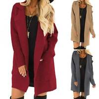 Womens Lapel Long Waterfall Trench Coats Jacket Cardigan Overcoat Jumper Outwear
