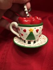 Vintage Mary Engelbreit Adler Teacup Saucer Hearts Christmas Ornament