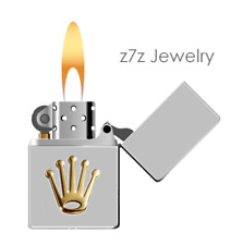IMPERIAL CROWN Cigarette Lighter - famous jewelry logo silver chrome flip top
