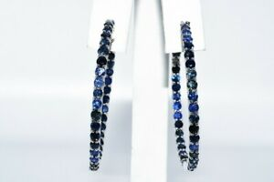 """$350 10.00CT NATURAL ROUND CUT DARK BLUE SAPPHIRE """"IN & OUT"""" HOOP EARRINGS .925"""