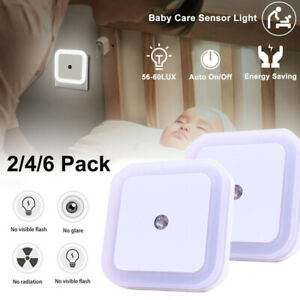 Automatic LED Child Safety Night Light Plug in Low Energy Saving Dusk Dawn 1/6PC