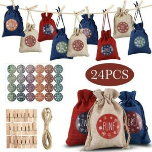 Wood Cloth Bags Xmas 10x14cm Fillable 3.9x5.5in Advent Bags Christmas