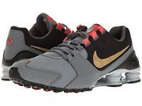 Mens Nike Shox Avenue Premium Sneakers, Cool Grey / Gold 833583-007 NEW IN BOX