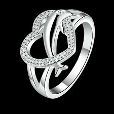2017 Fashion 925 sterling Solid silver Dolphin heart rings size8 #P220