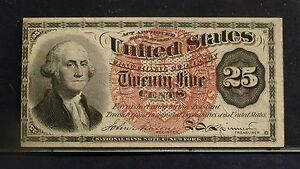 "FR.1302 (4th Issue) 25 cent ""WASHINGTON"" Large red seal - Unwatermarked paper"