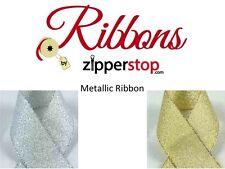 "7/8"" Metallic Ribbon - Gold or Silver - 10 or 50 yards - Gift Wrap/Packaging"