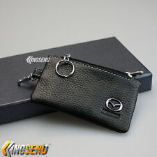 MAZDA Key Bag Holder 100% Genuine Cow Leather Remote Cover Fob Case Ring Chain