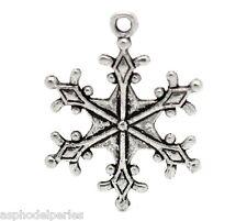 5 pendentifs flocons de neige Noël argentés 29 x 22 mm