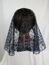 NAVY BLUE/GOLD LACE VEIL MANTILLA SCARF HEADCOVER MASS LATIN CHURCH CATHOLIC 160