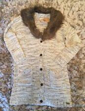 Womens Bellfiels Belpher Cardigan Faux Fur Collar Size Small (uk 10) Long Line