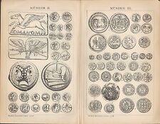 Lithografie 1903: Münzen. Münztechnik. Gold-Silber Geld Währung Numismatik