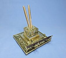 Antique Art Nouveau Brass and Glass Inkwell and Pen Cradle