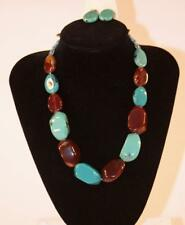 Turquoise & Brown Stone Jxej New Necklace & Earrings Set Premium Fashion Jewelry